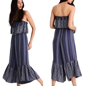 AMERICAN EAGLE | Embroidered Strapless Jumpsuit